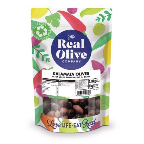 F2101805 - Real Olive Co. Pitted Extra Large Kalamata Olives, 1kg Bag