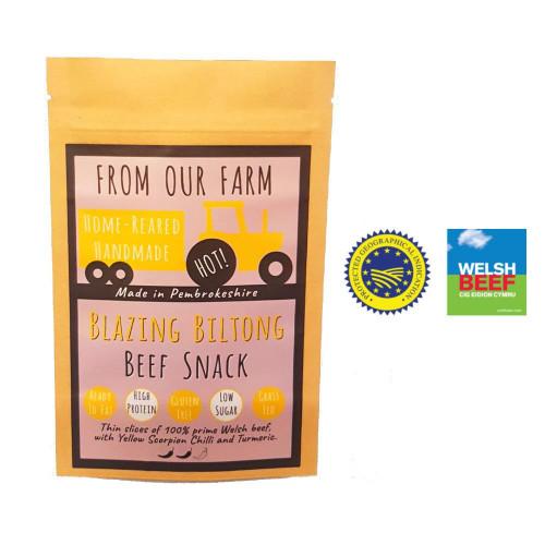 Blas ar Fwyd: From Our Farm Blazing Biltong 40g